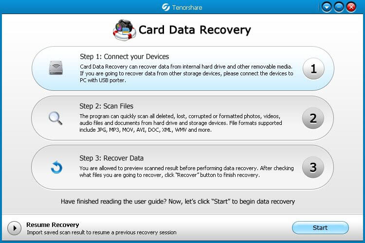 how to use card data recovery