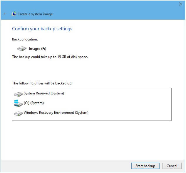 create a windows 10 system image backup