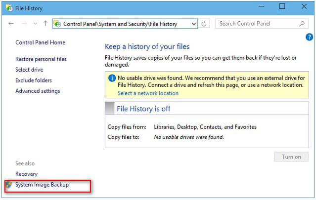 create a system image backup in windows 10