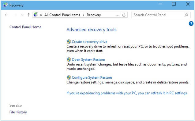 restore a system image backup in windows 10