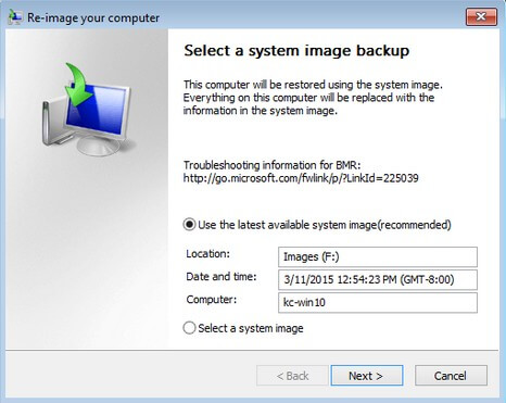 restore windows 10 from system image backup