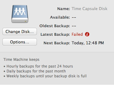 alert message when time machine fails to backup