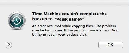 time machine backup failed