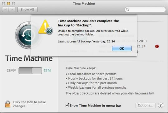 time machine cannot complete backup
