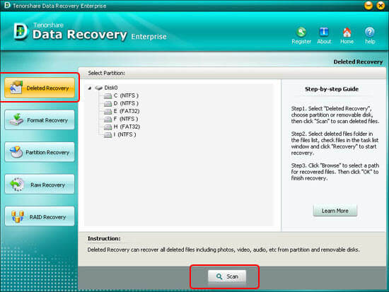 Tenorshare Data Recovery Enterprise-How to use-Deleted Recovery 1