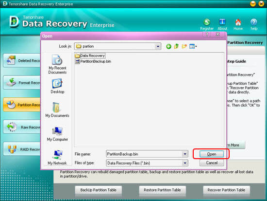 Partition recovery completely