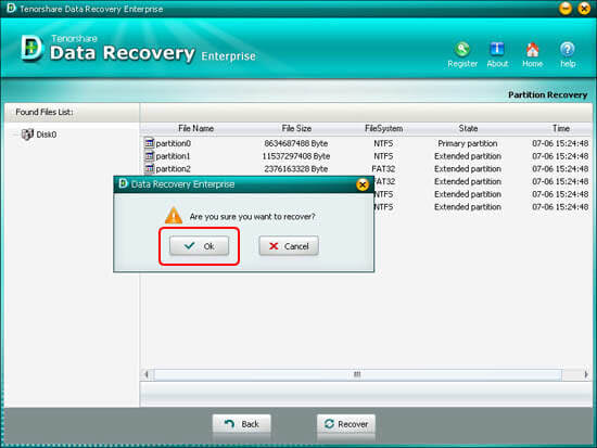 Confirm to Recover Partition Table