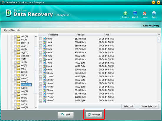 Raw Recovery: File List