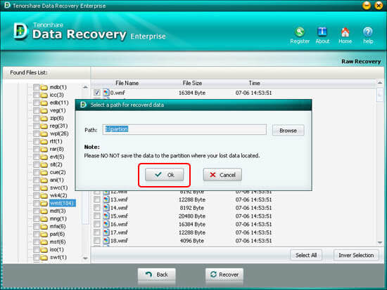 Select path for recovered files