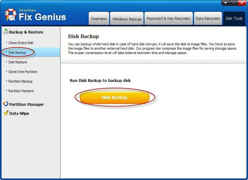 Run Disk Backup to backup disk
