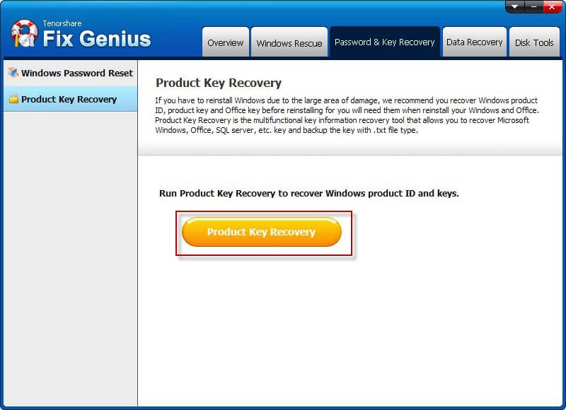 Product key recovery