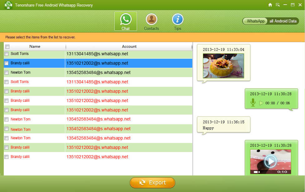 preview and select whatsapp messages to recover