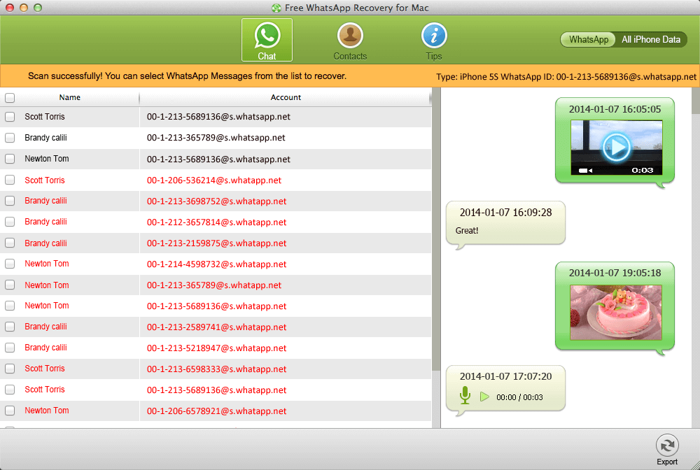 retrieve whatsapp messages from iphone