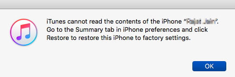 iTunes Cannot Read the Contents of iPhone