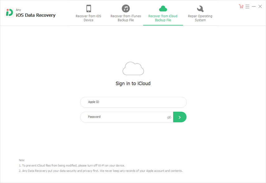 log in to icloud account