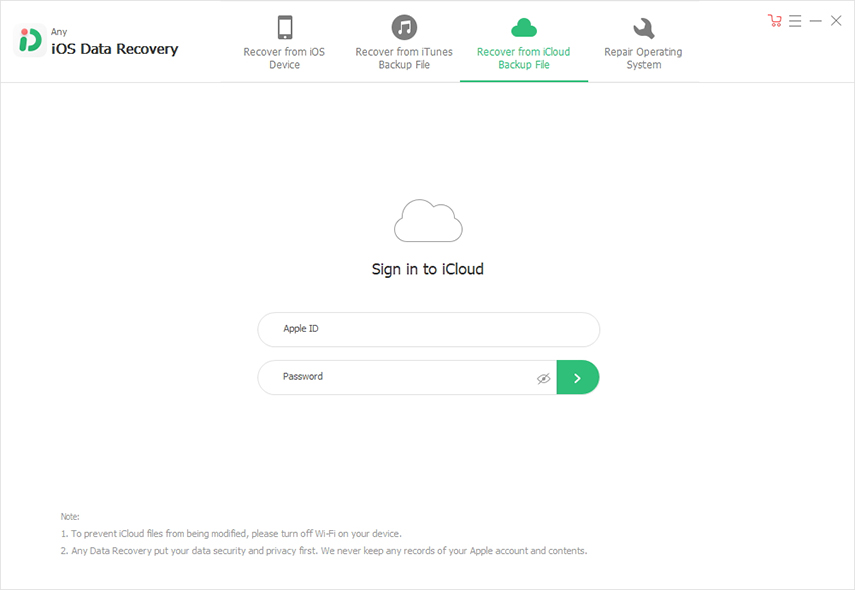 login icloud account and scan files