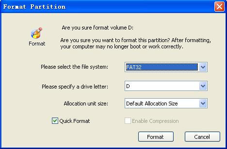 Format partition settings
