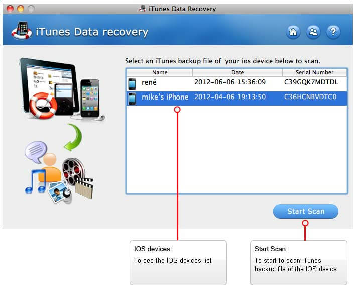 Any iTunes Data Recovery for Mac  Extract Lost Files from iPhone\/iPad\/iPod Backup
