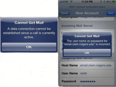 can't get email on iphone