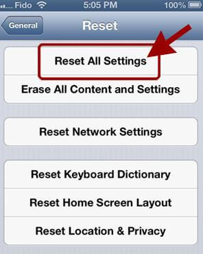 Image result for reset all settings on iphone