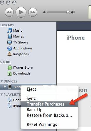 import iphone purchased items to itunes