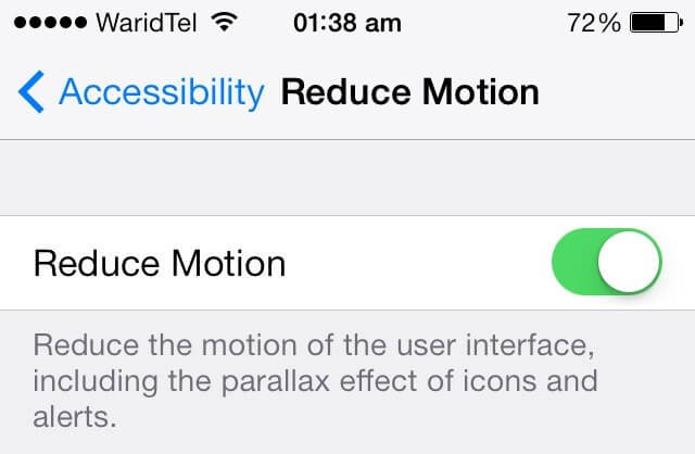 turn on reduce motion
