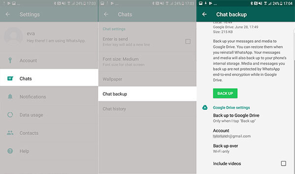 backup whatsapp chats to google drive