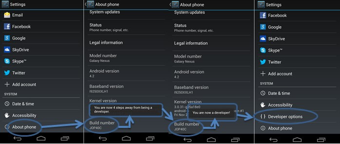 how to enable usb debugging jelly bean