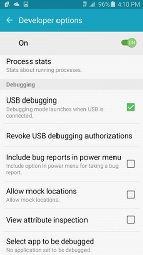 check on USB Debugging