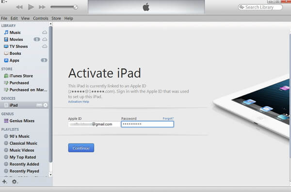 activate ipad with itunes