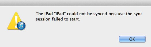itunes sync session failed to start error