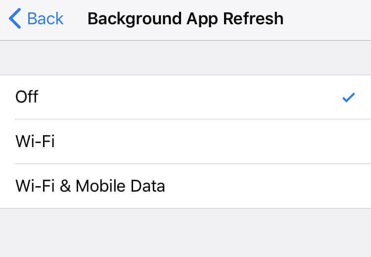 turn off background app refresh