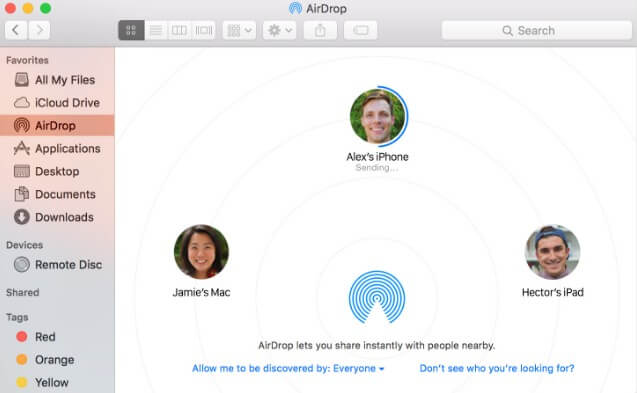airdrop photos from mac to iphone