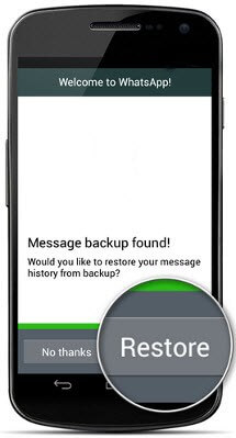 Whatsapp message restore Android