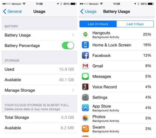 ios 8 battery saver
