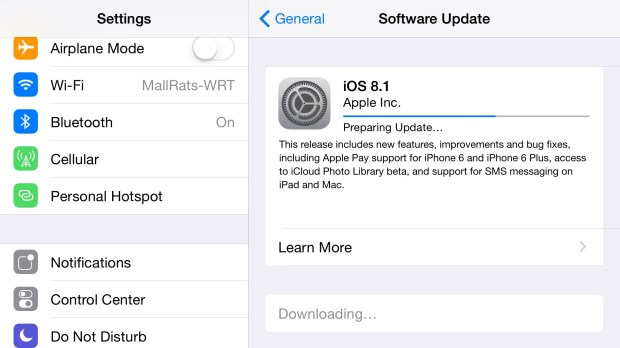 upgrade to ios 8.1