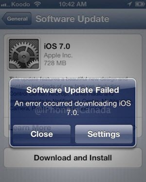 ios7 update failed