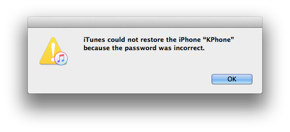 itunes backup password was incorrect
