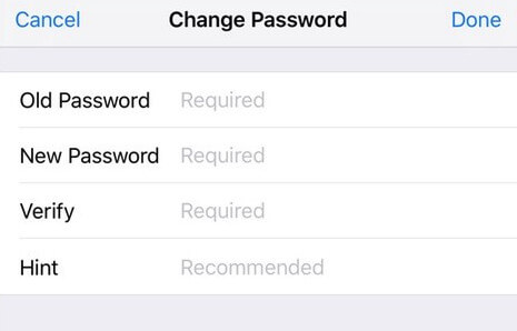 change password for notes