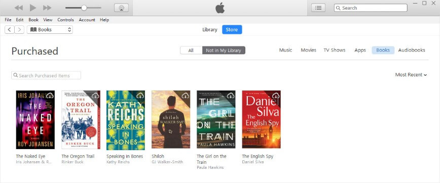 purchased books on iTunes