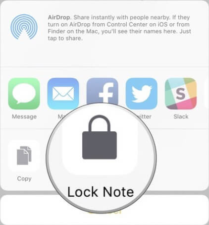 set password touch id on notes