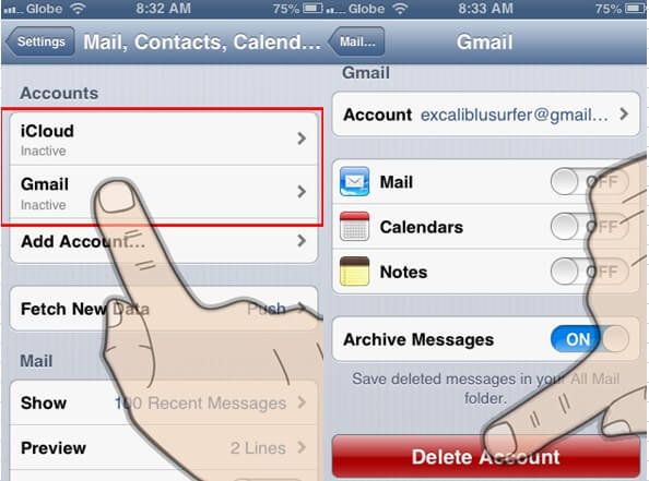 how to remove an email account from iphone mail