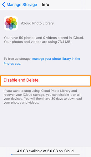 disable and delete icloud photo library