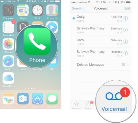 how to delete voicemail on iphone 7 plus