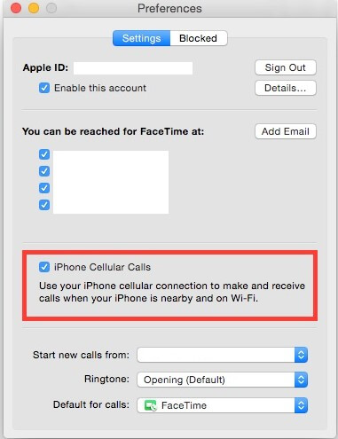 how to turn off iphone calls on mac