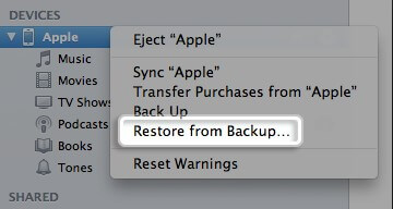 Restore iPhone 4S from Backup