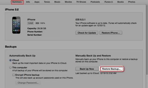 restore iphone 5s from itunes backup