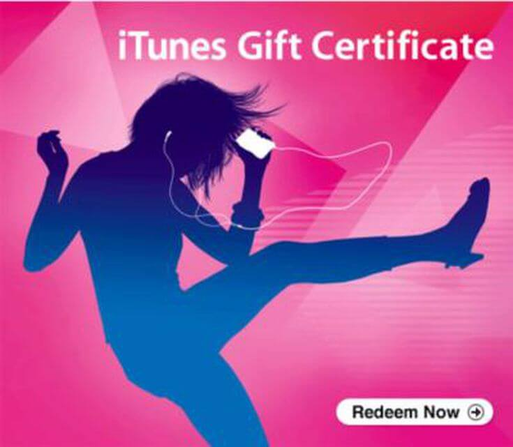 iTunes gift card or certificate