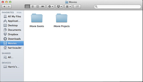 events folder imovie