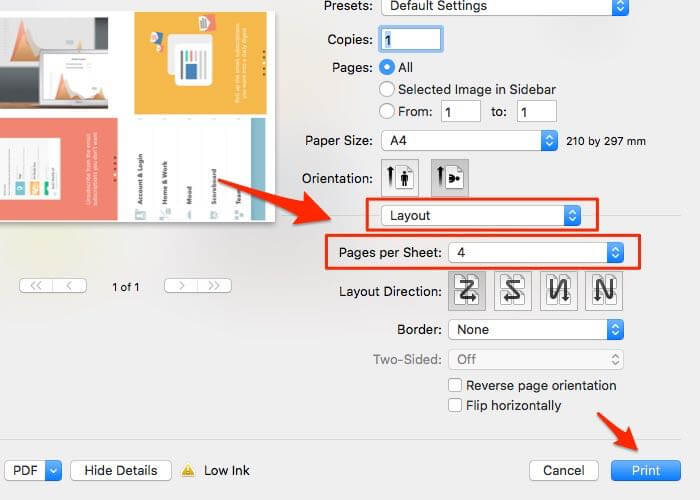 Settings to print four images in one page